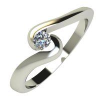 Годежен Пръстен бяло злато с диамант Accent 0,04 ct. 589