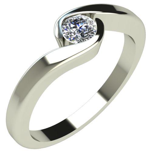 Годежен Пръстен бяло злато с диамант Accent 0,12 ct. 216