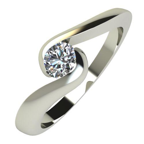 Годежен Пръстен бяло злато с диамант Accent 0,17 ct. 590