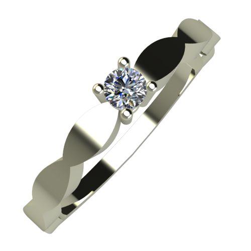 Годежен Пръстен бяло злато с диамант Crown 0,04 ct. 872