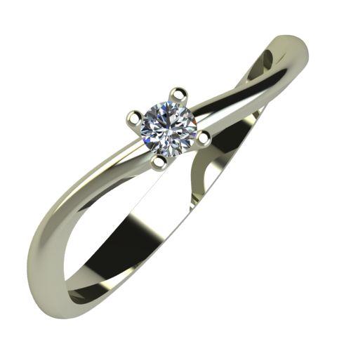Годежен Пръстен бяло злато с диамант Fits 0,04 ct. 874
