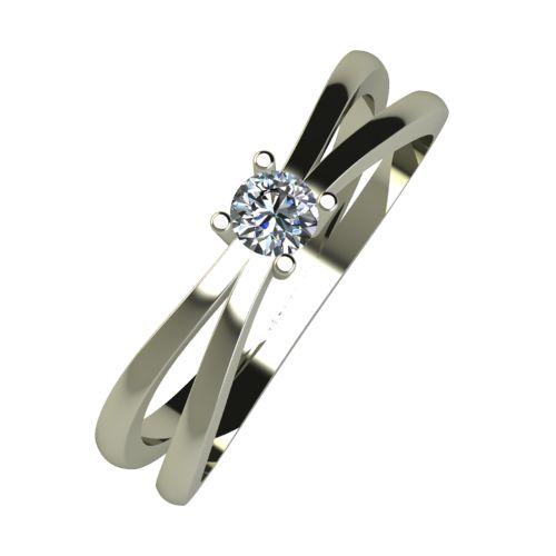 Годежен Пръстен бяло злато с диамант Flat 0,12 ct. 955