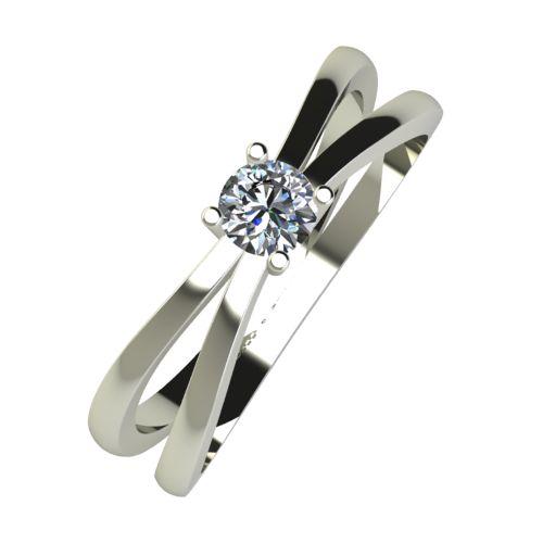 Годежен Пръстен бяло злато с диамант Flat 0,17 ct. 956