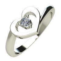 Годежен Пръстен бяло злато с диамант Heart 0,04 ct. 486