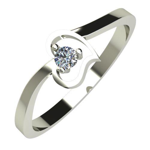 Годежен Пръстен бяло злато с диамант Heart 0,04 ct. 619