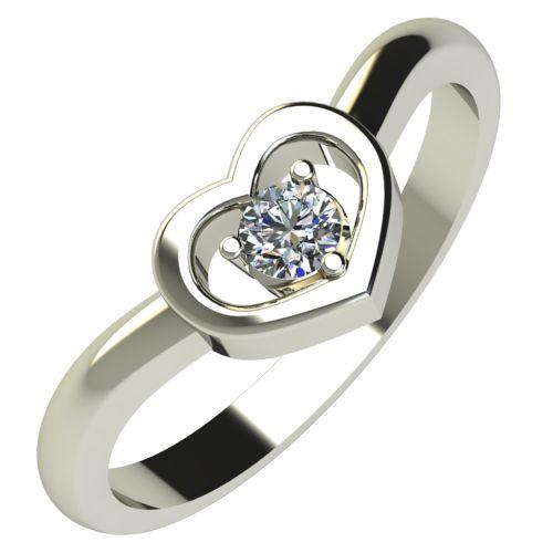 Годежен Пръстен бяло злато с диамант Heart 0,07 ct. 191