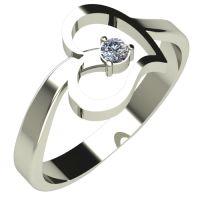 Годежен Пръстен бяло злато с диамант Heart 0,07 ct. 219