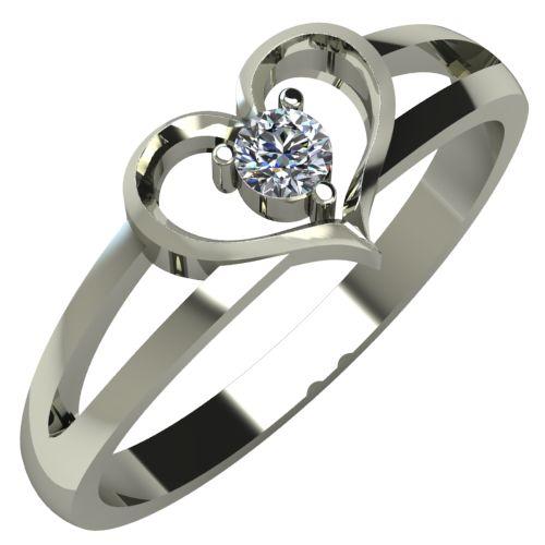 Годежен Пръстен бяло злато с диамант Heart 0,07 ct. 251