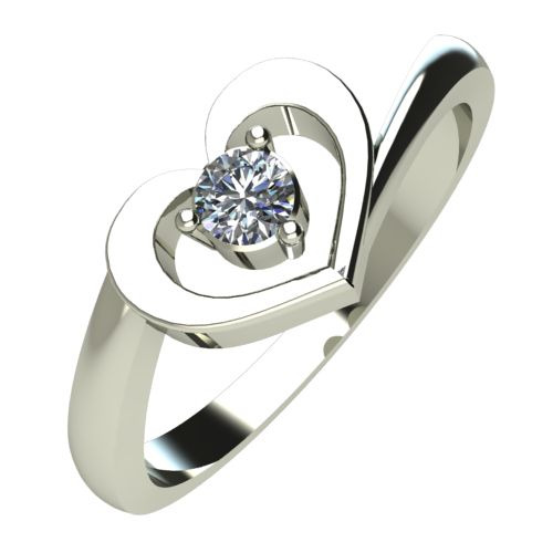 Годежен Пръстен бяло злато с диамант Heart 0,07 ct. 355