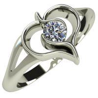 Годежен Пръстен бяло злато с диамант Heart 0,07 ct. 557