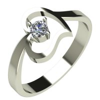 Годежен Пръстен бяло злато с диамант Heart 0,07 ct. 562