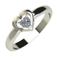 Годежен Пръстен бяло злато с диамант Heart 0,11 ct. 614