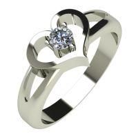 Годежен Пръстен бяло злато с диамант Heart 0,12 ct. 516