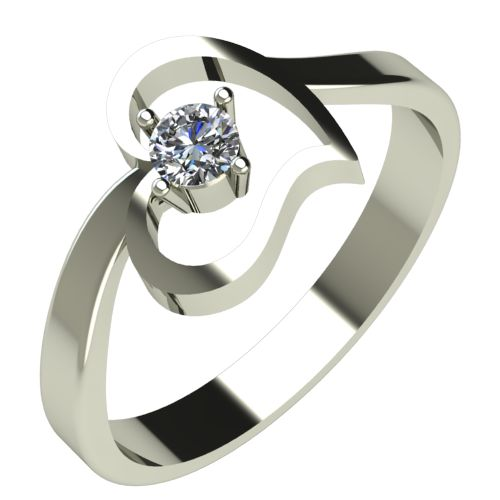 Годежен Пръстен бяло злато с диамант Heart 0,12 ct. 517
