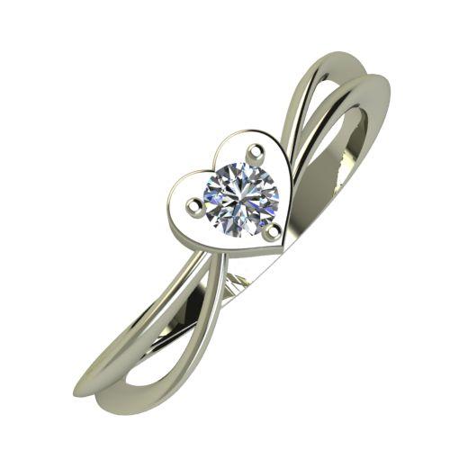 Годежен Пръстен бяло злато с диамант Heart 0,12 ct. 893