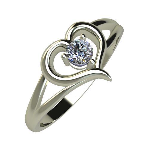 Годежен Пръстен бяло злато с диамант Heart 0,12 ct. 919