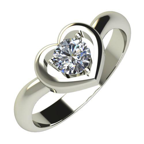 Годежен Пръстен бяло злато с диамант Heart 0,25 ct. 634