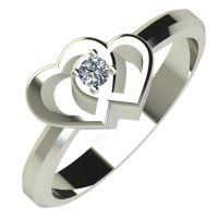 Годежен Пръстен бяло злато с диамант Hearts 0,04 ct. 568