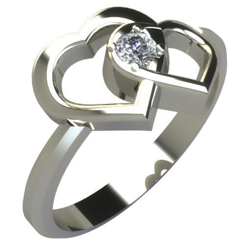 Годежен Пръстен бяло злато с диамант Hearts 0,07 ct. 220