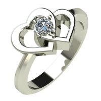 Годежен Пръстен бяло злато с диамант Hearts 0,12 ct. 513