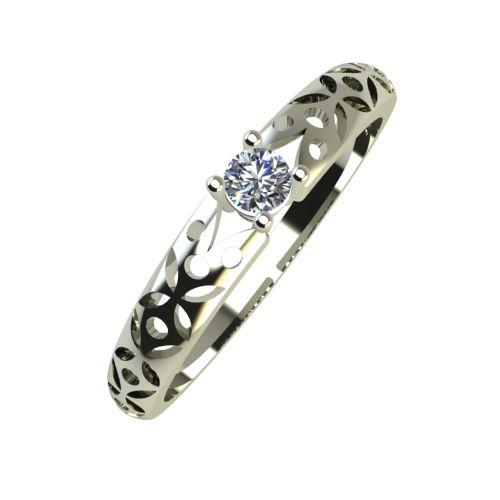 Годежен Пръстен бяло злато с диамант Nets 0,04 ct. 931