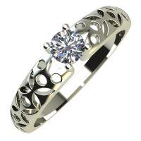 Годежен Пръстен бяло злато с диамант Nets 0,12 ct. 682