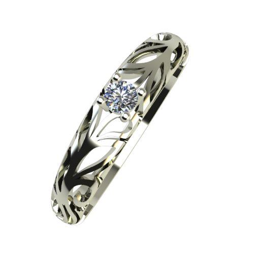 Годежен Пръстен бяло злато с диамант Sets 0,04 ct. 934