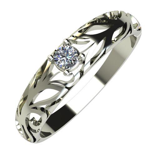 Годежен Пръстен бяло злато с диамант Sets 0,07 ct. 691
