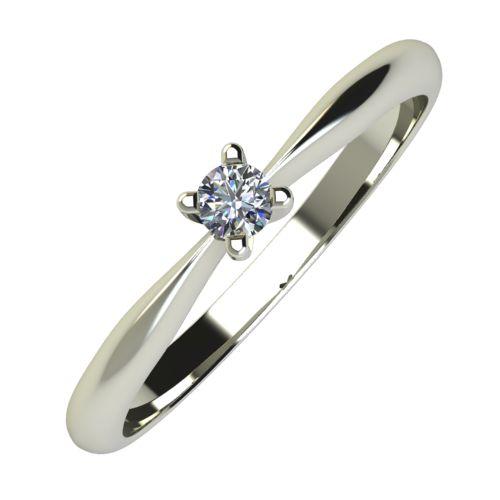 Годежен Пръстен бяло злато с диамант Thin 0,04 ct. 723