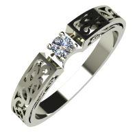 Годежен Пръстен бяло злато с диамант Token 0,07 ct. 692