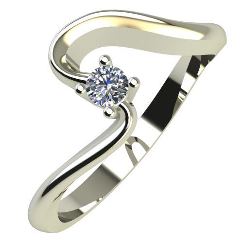 Годежен Пръстен бяло злато с диамант Twinkle 0,04 ct. 673