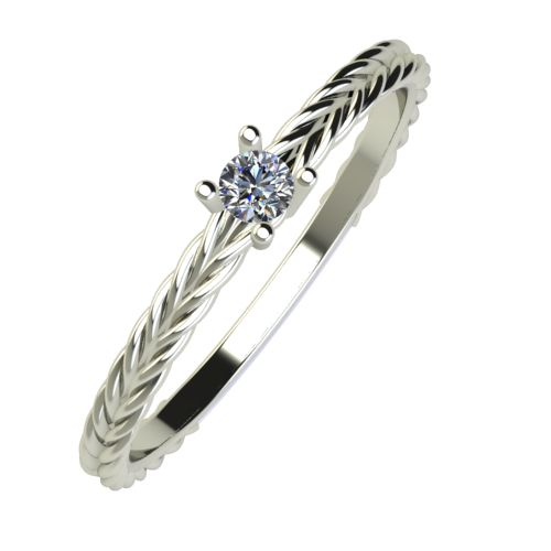 Годежен Пръстен бяло злато с диамант Wave 0,04 ct. 886
