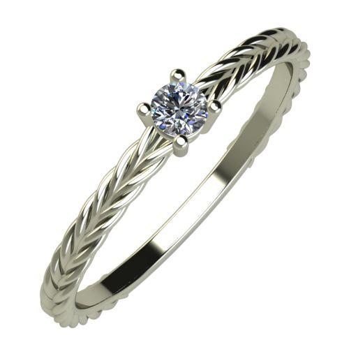 Годежен Пръстен бяло злато с диамант Wave 0,07 ct. 843