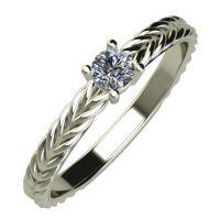 Годежен Пръстен бяло злато с диамант Wave 0,12 ct. 844