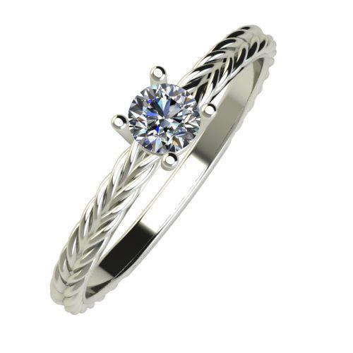 Годежен Пръстен бяло злато с диамант Wave 0,17 ct. 887