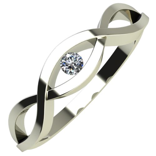 Годежен Пръстен бяло злато с диамант Cast 0,04 ct. 689