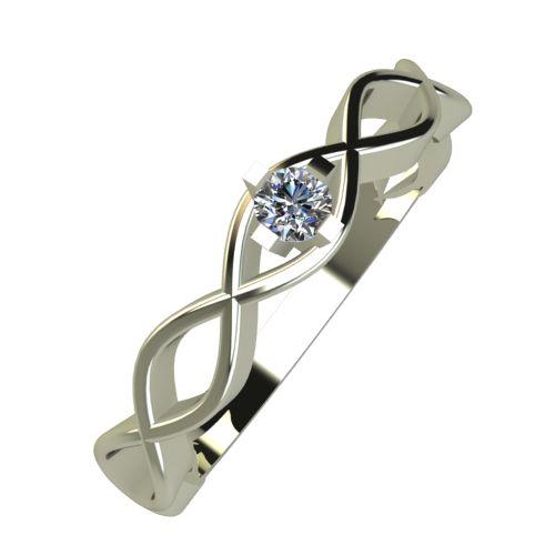 Годежен Пръстен бяло злато с диамант Cast 0,04 ct. 951