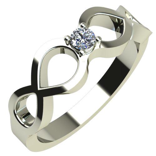 Годежен Пръстен бяло злато с диамант Cast 0,07 ct. 278