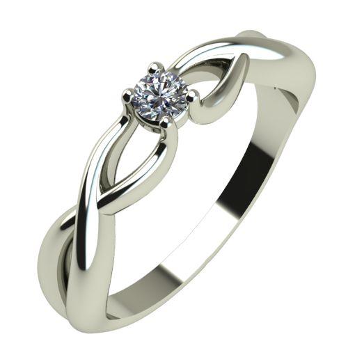 Годежен Пръстен бяло злато с диамант Cast 0,07 ct. 342