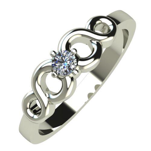 Годежен Пръстен бяло злато с диамант Cast 0,07 ct. 490