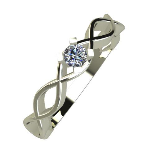 Годежен Пръстен бяло злато с диамант Cast 0,07 ct. 952