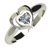 Годежен Пръстен бяло злато с диамант Heart 0,04 ct. 715