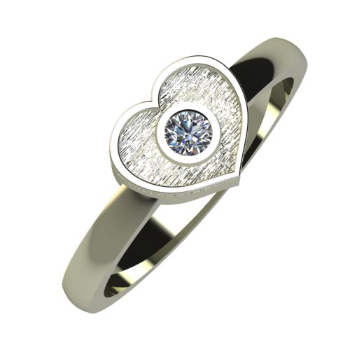 Годежен Пръстен бяло злато с диамант Heart 0,04 ct. 897