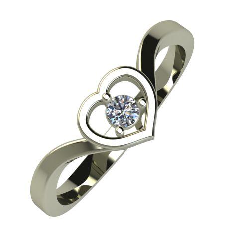 Годежен Пръстен бяло злато с диамант Heart 0,04 ct. 898