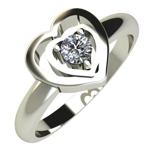 Годежен Пръстен бяло злато с диамант Heart 0,07 ct. 778