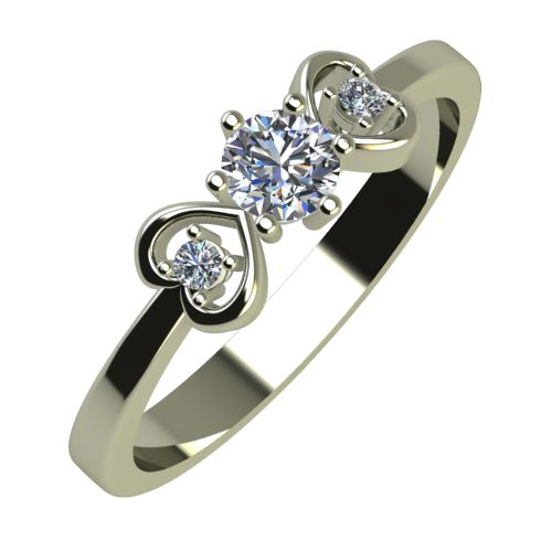 Годежен Пръстен бяло злато с диамант Hearts 0,19 ct. 851