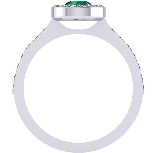 Годежен Пръстен бяло злато с Изумруд Halo 4mm. 2019 b