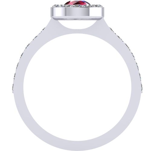 Годежен Пръстен бяло злато с Рубин Halo 4mm. 2020 b