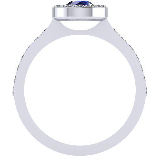 Годежен Пръстен бяло злато със сапфир Halo 4mm. 2018 b