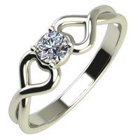 Годежен Пръстен бяло злато с диамант Hearts 0,12 ct. 545